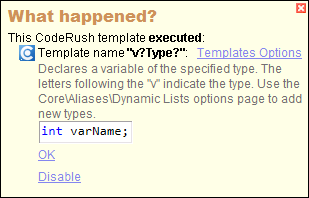 CodeRush Templates In What Happened Window