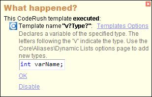 CodeRush Templates In What Happened Window