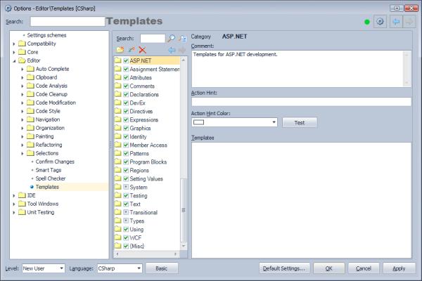 CodeRush Templates Option Page
