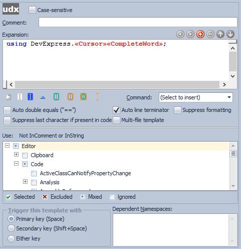 CodeRush Templates Options Area