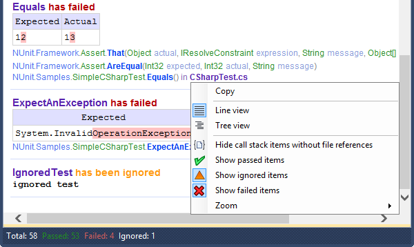 CodeRush Unit Test Runner Details Tab Context Menu
