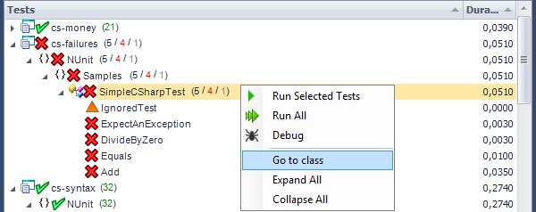 CodeRush Unit Test Runner Tree Context Menu