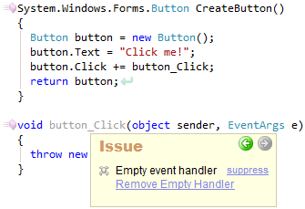 CodeRush Empty Event Handler Preview